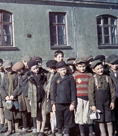Jewish children infront of school
