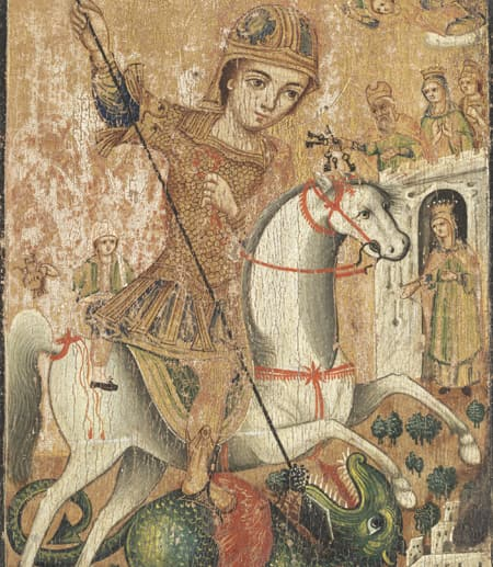 Saint George and the Dragon painting from Cornell's Johnson Museum of Art