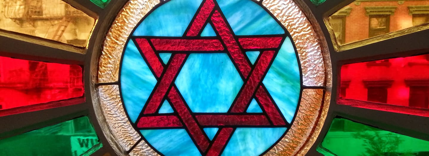 stained glass window star of david